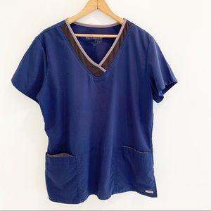 Grey's anatomy navy blue scrub top Large